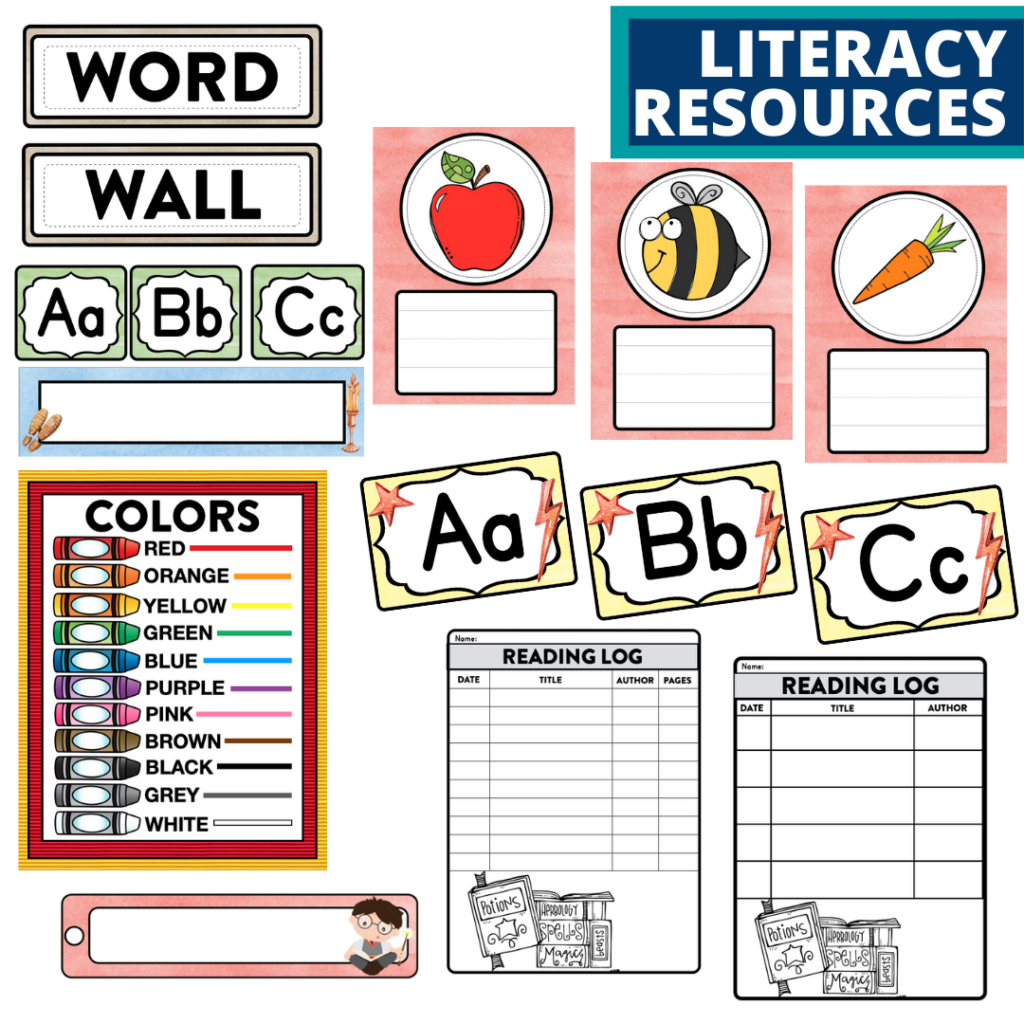 elementary classroom word wall and reading logs for a wizard themed classroom