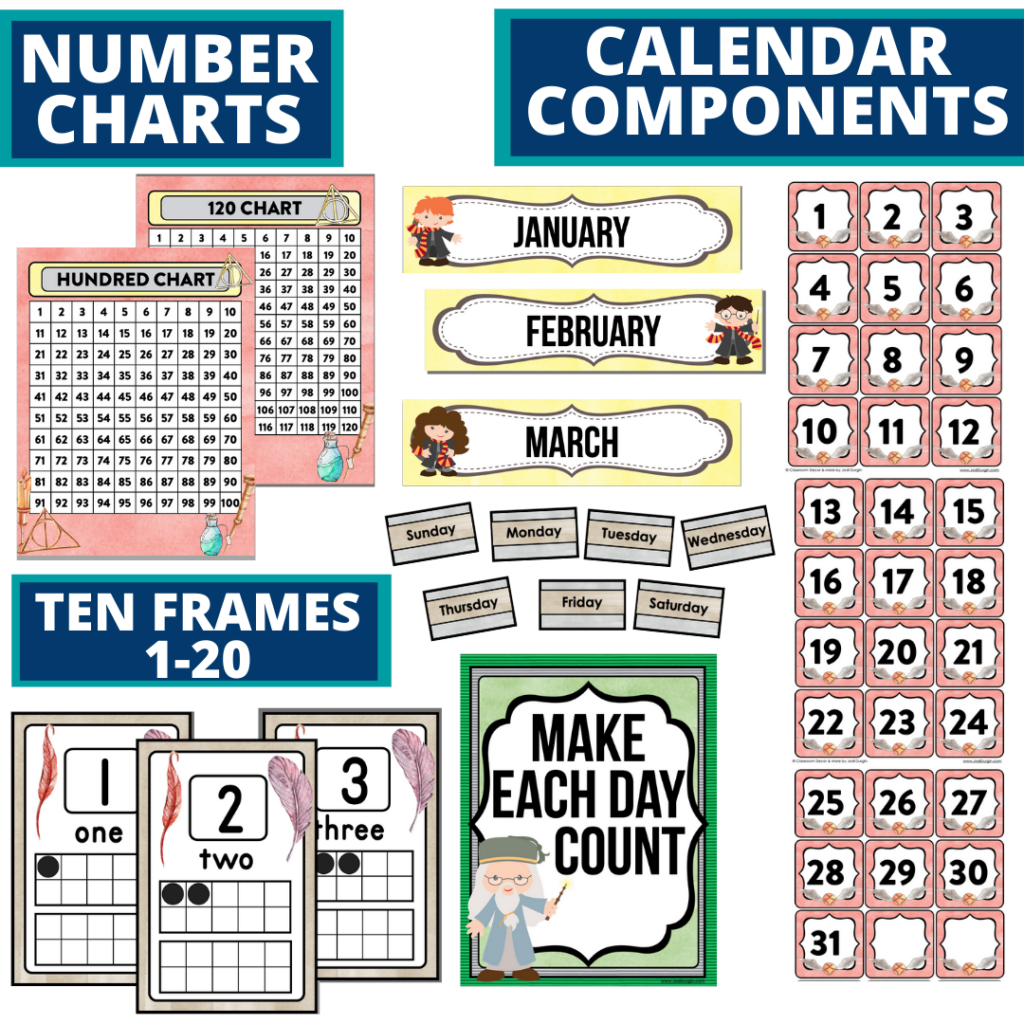 DIY printable classroom calendar for elementary teachers using a wizard classroom theme