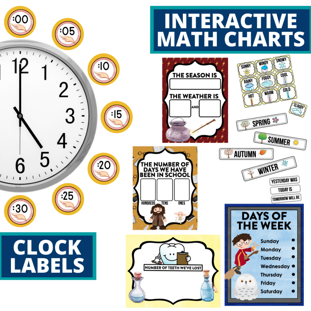 wizard themed math resources for telling time, place value and the days of the week