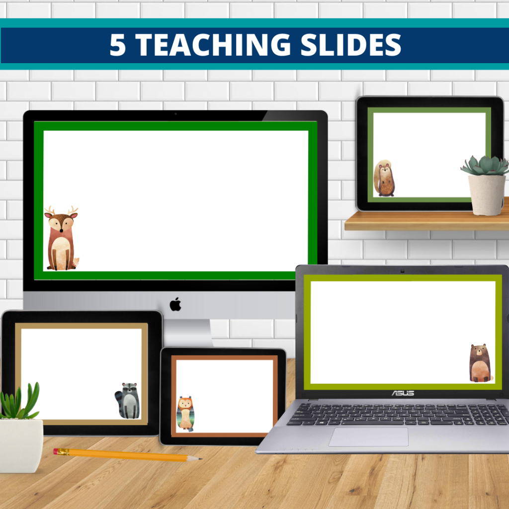 woodland theme google classroom slides and powerpoint templates for elementary teachers shown on computers