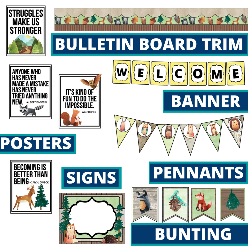 woodland theme bulletin board trim with pennants, banner and bunting