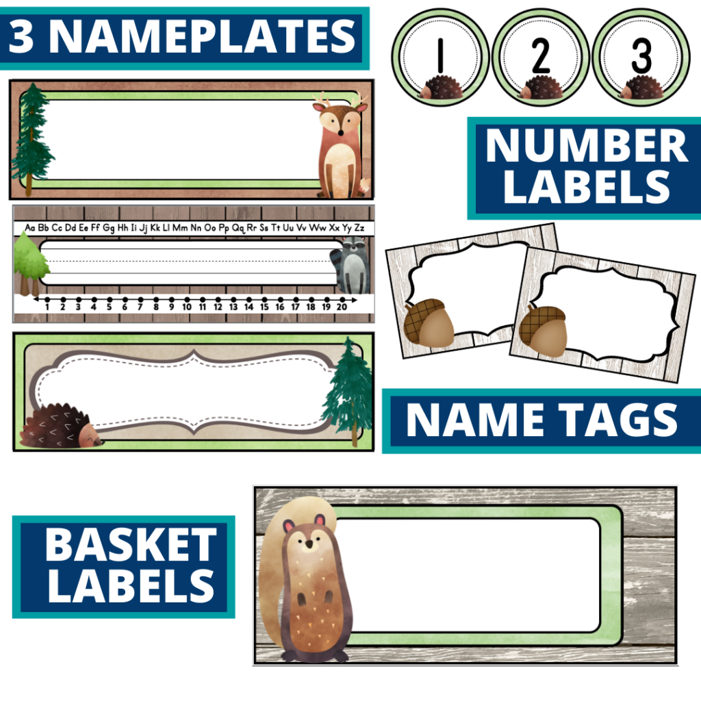 editable nameplates and basket labels for a woodland themed classroom
