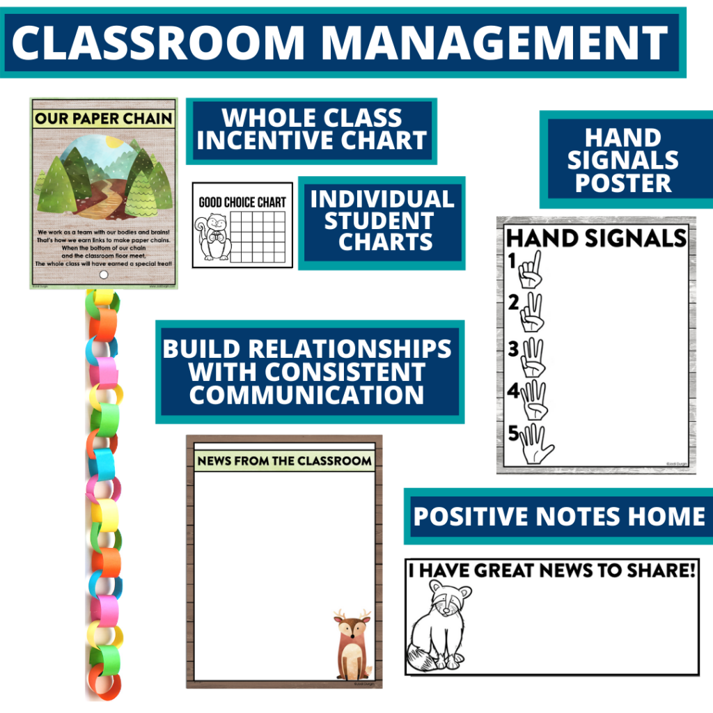 woodland themed tools for improving student behavior in an elementary classroom