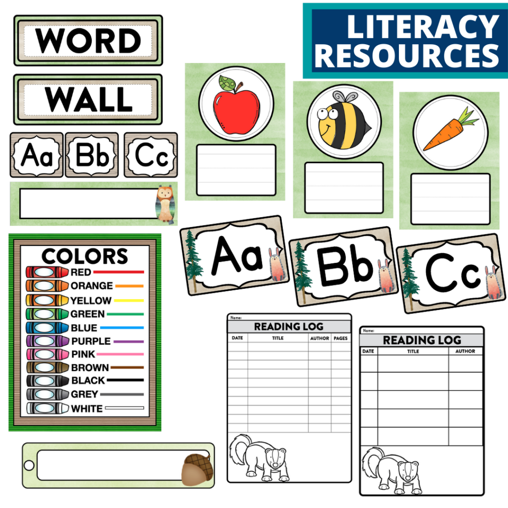 elementary classroom word wall and reading logs for a woodland themed classroom