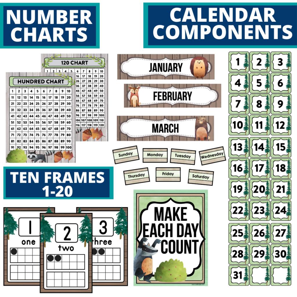 DIY printable classroom calendar for elementary teachers using a woodland classroom theme