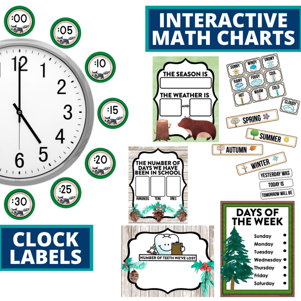 woodland themed math resources for telling time, place value and the days of the week