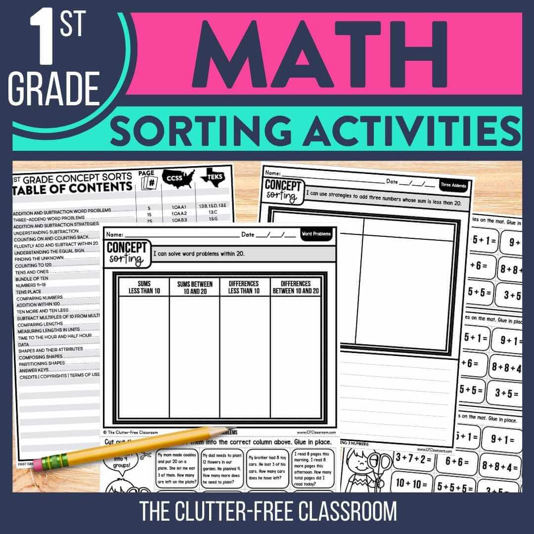 1st grade math sorting activities worksheets for math centers