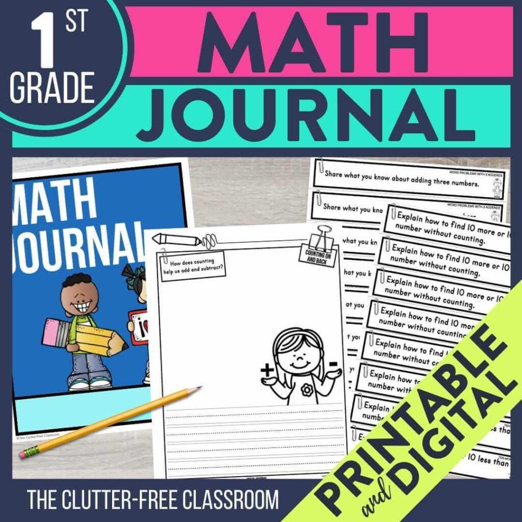 1st grade math notebook journal prompts