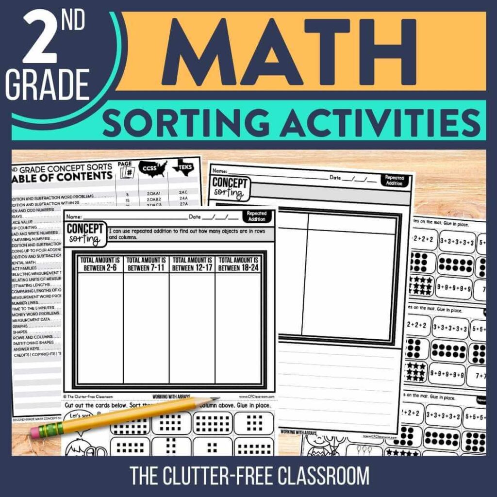 2nd grade math sorting activities worksheets for math centers