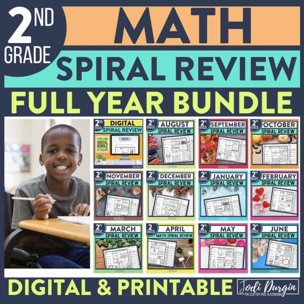 2nd grade math spiral review worksheets as homework for the entire year