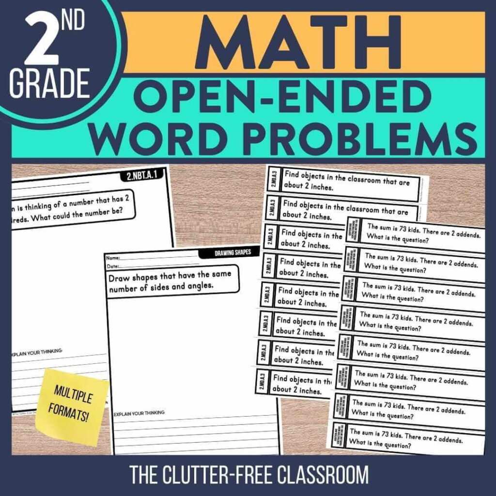 2nd grade open ended math question word problem worksheets