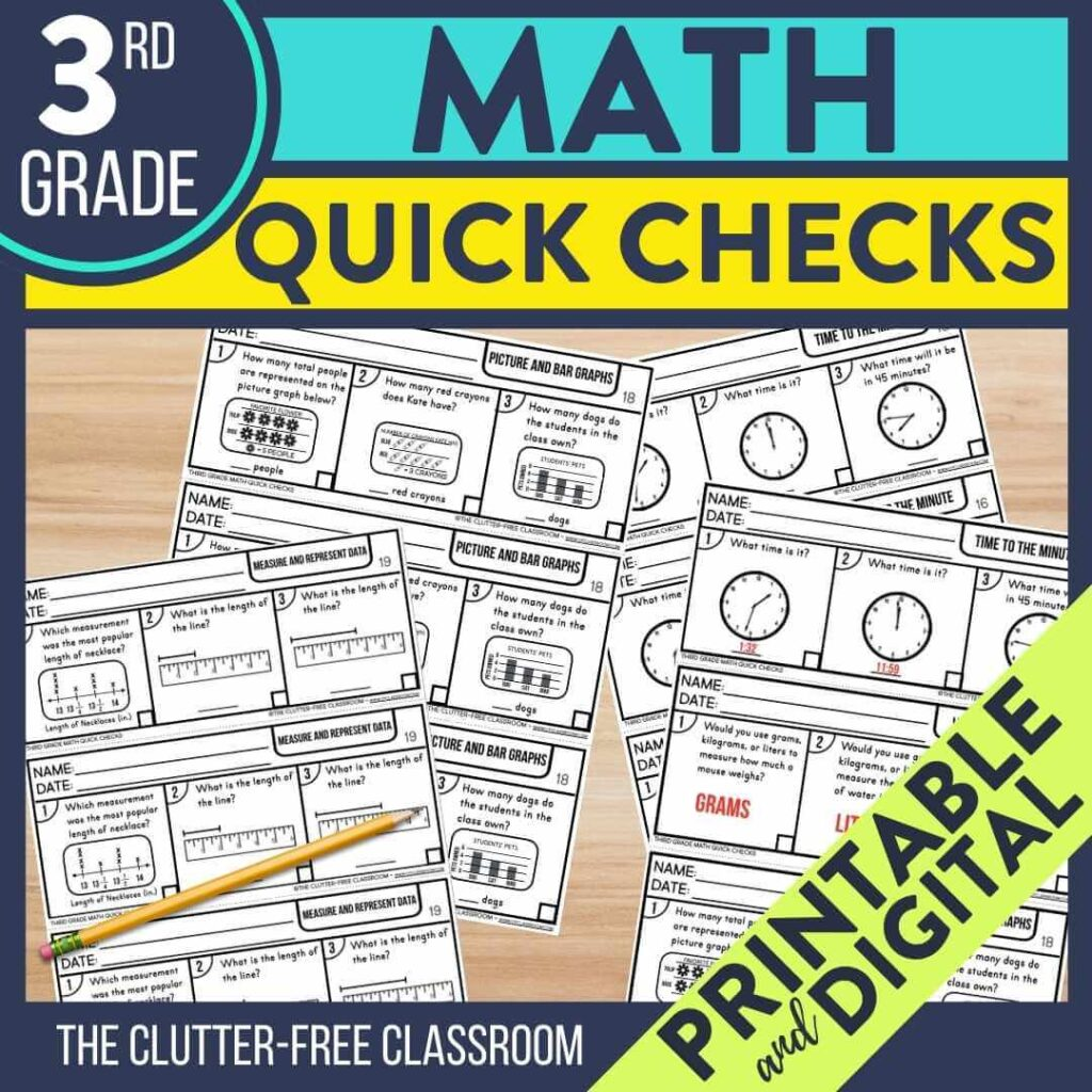 3rd grade math exit tickets to use as quick check assessments