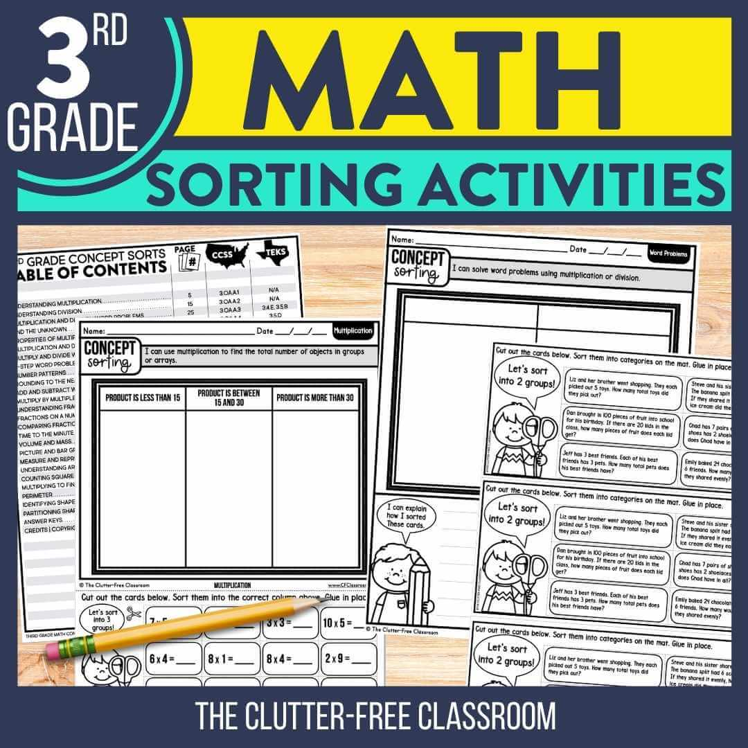 3rd grade math sorting activities worksheets for math centers