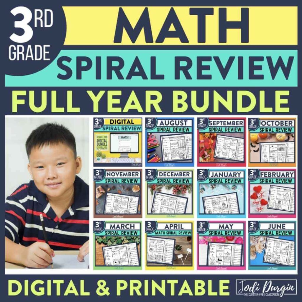 3rdgrade math spiral review worksheets as homework for the entire year