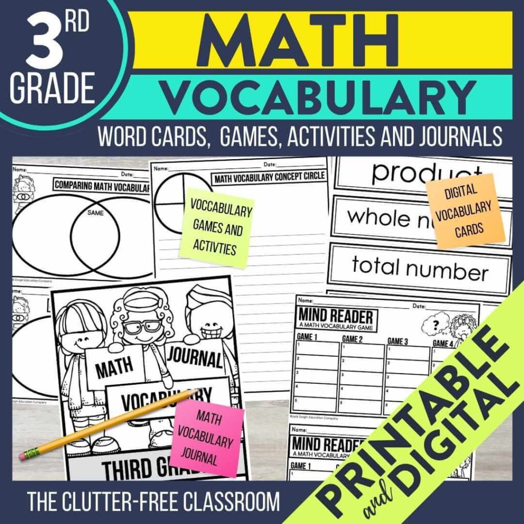 3rd grade math vocabulary word wall cards activities and games