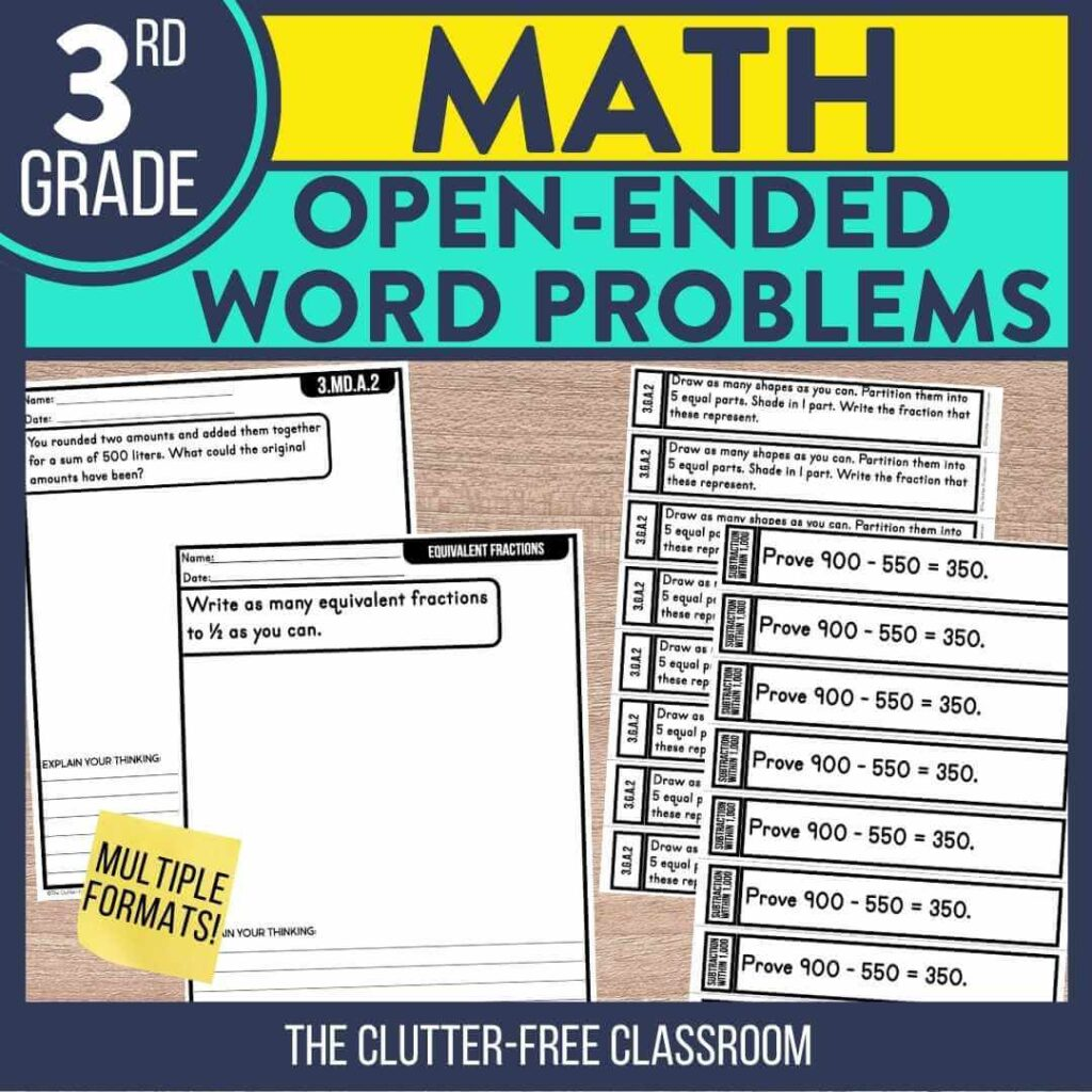3rd grade open ended math question word problem worksheets