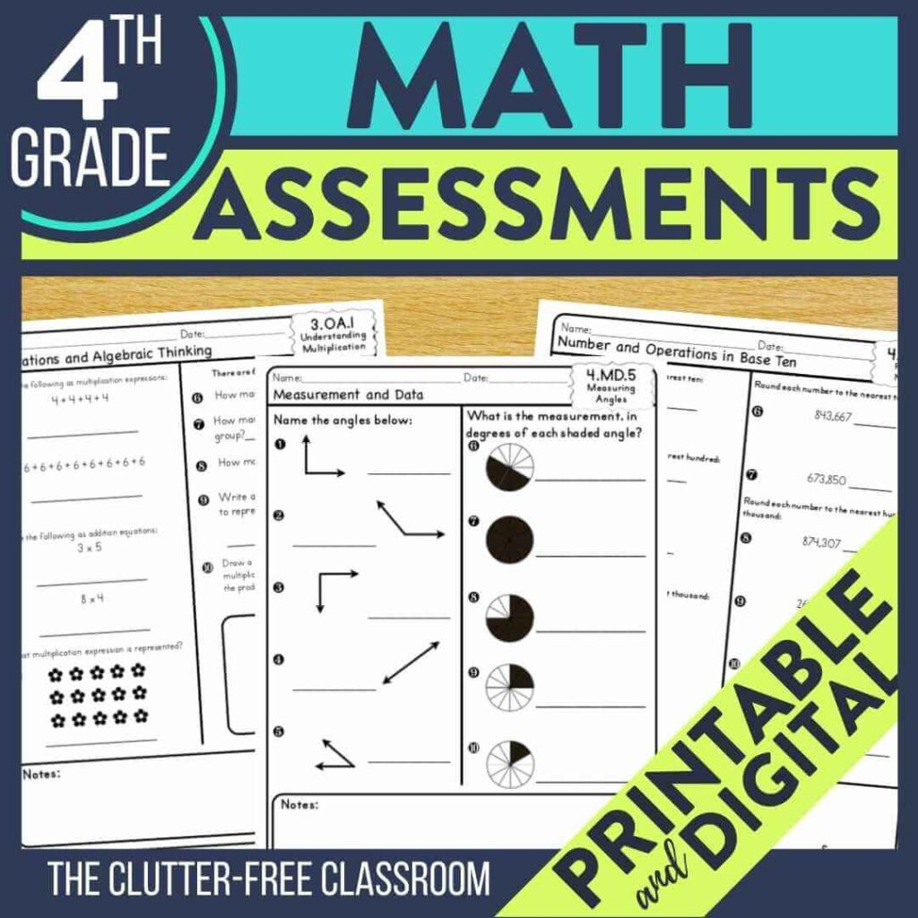 grade benchmark assessment tests for math standards