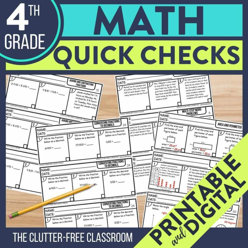 4th grade math exit tickets to use as quick check assessments