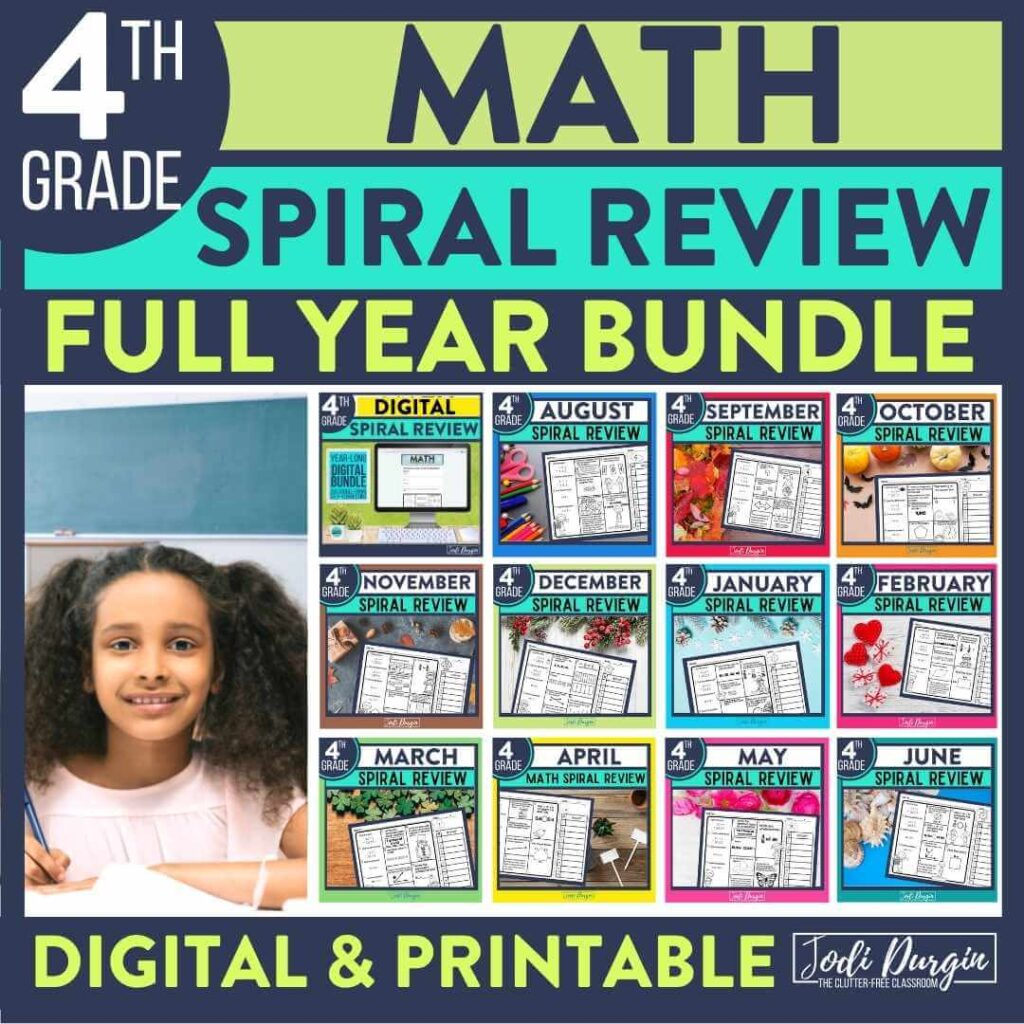 4th grade math spiral review worksheets as homework for the entire year