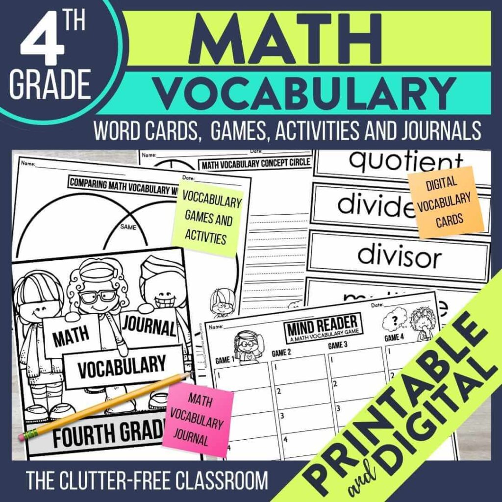 4th grade math vocabulary word wall cards activities and games