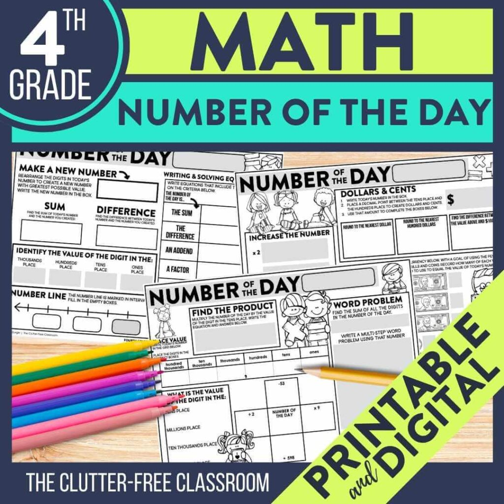 4th grade number of the day worksheets