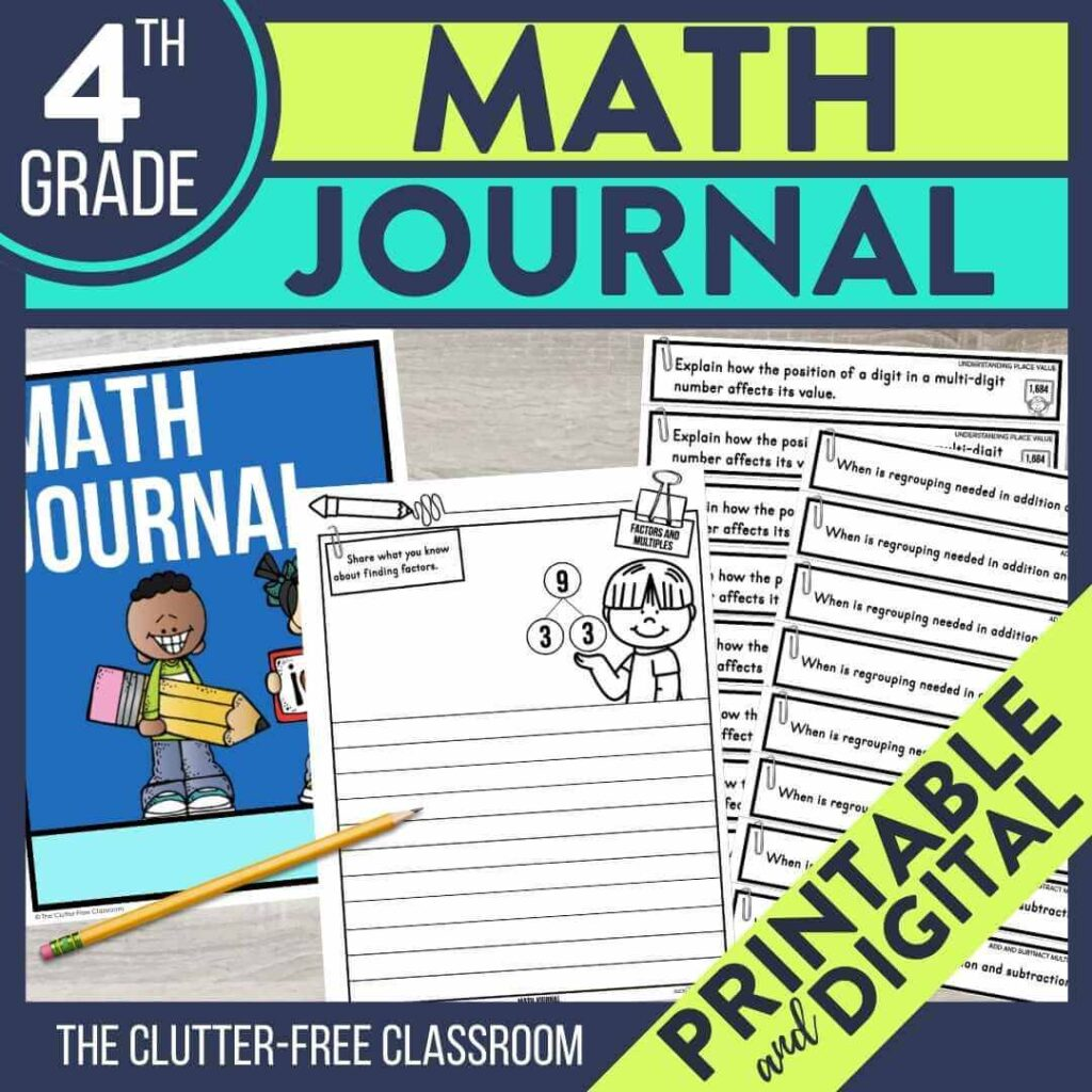 4th grade math notebook journal prompts