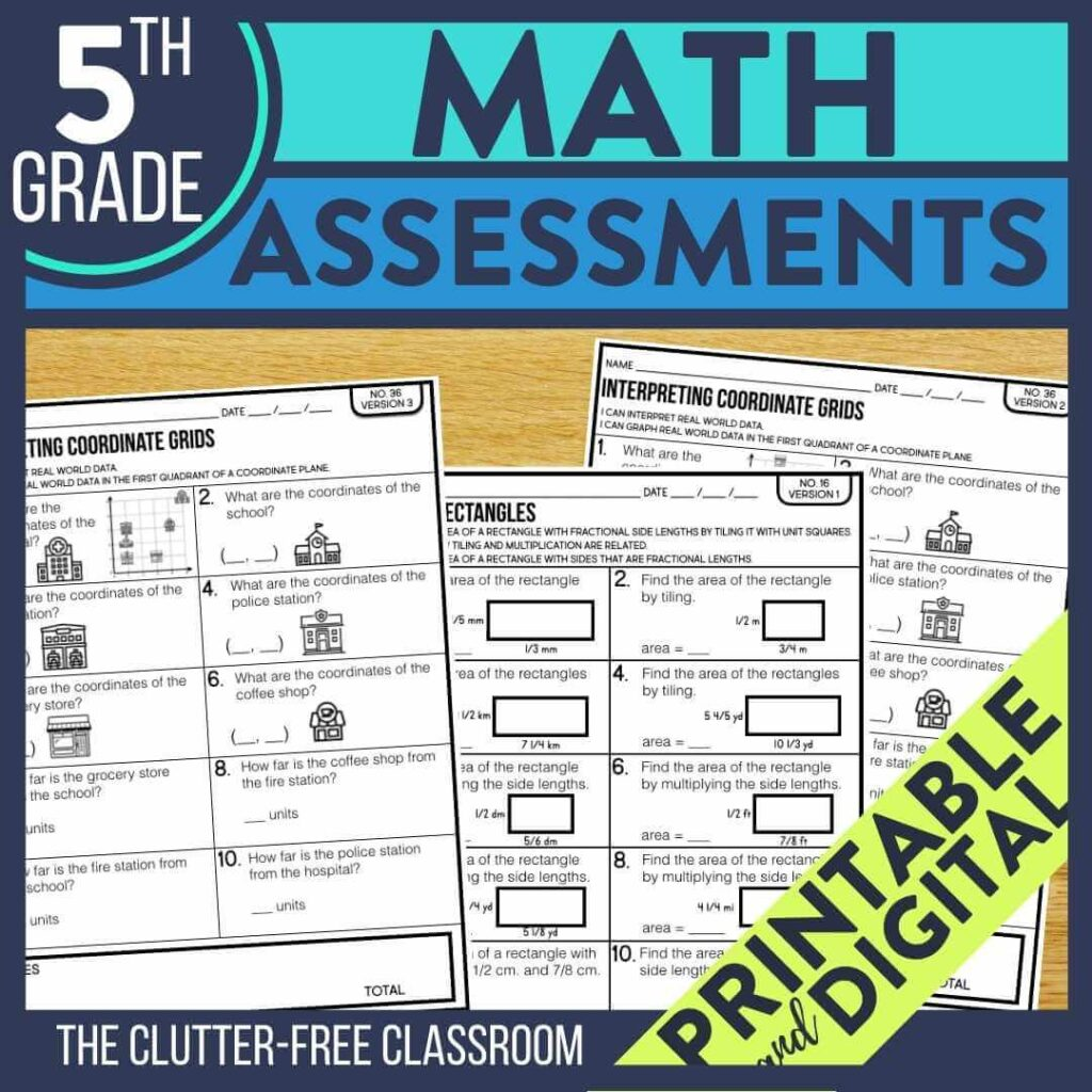 5th grade benchmark assessment tests for math standards