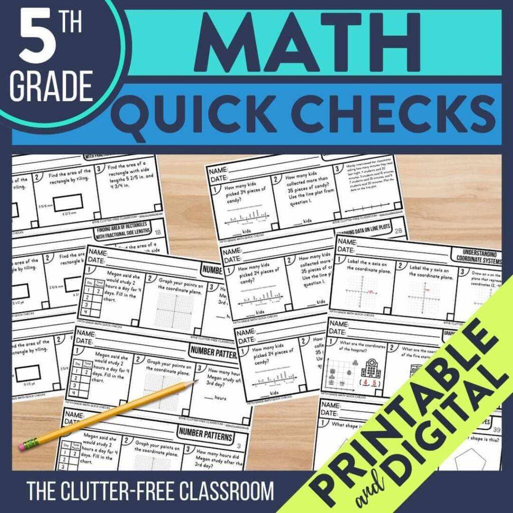 5th grade math exit tickets to use as quick check assessments