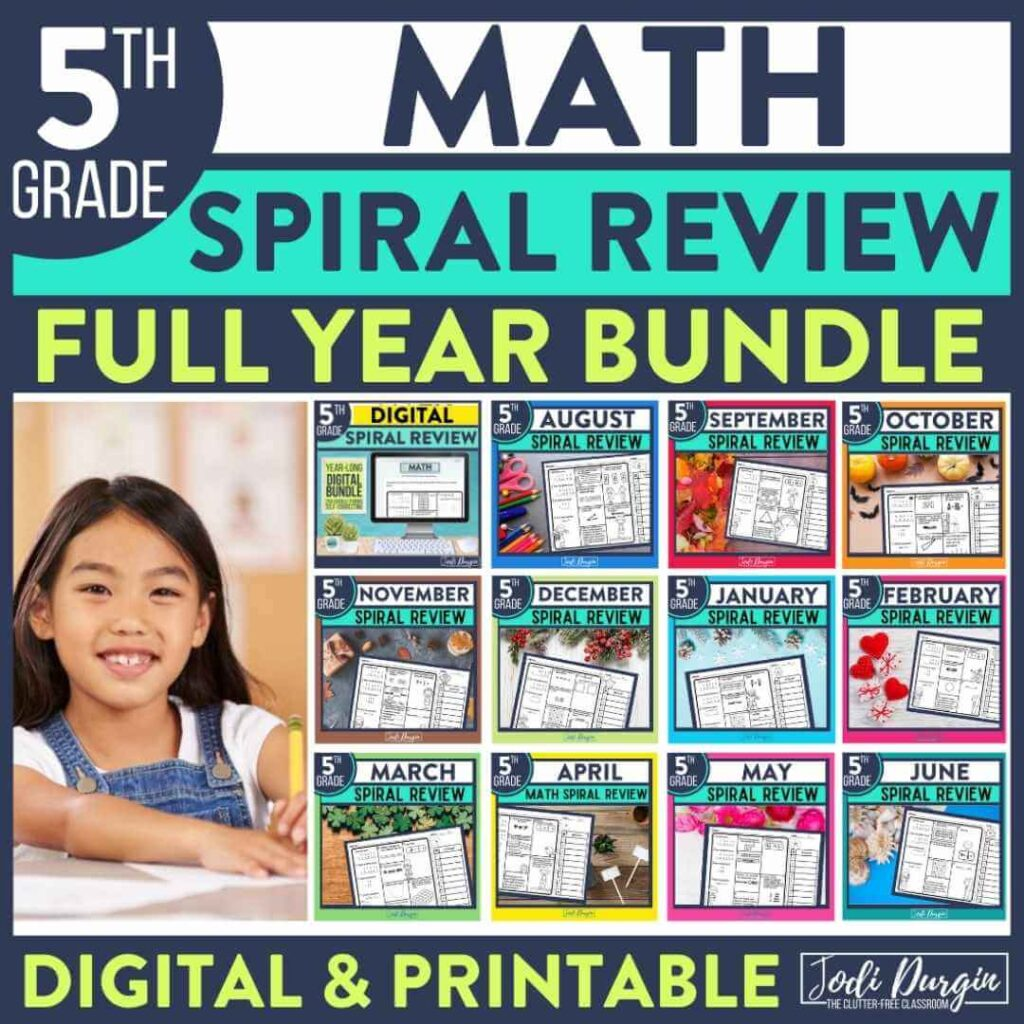 5th grade math spiral review worksheets as homework for the entire year