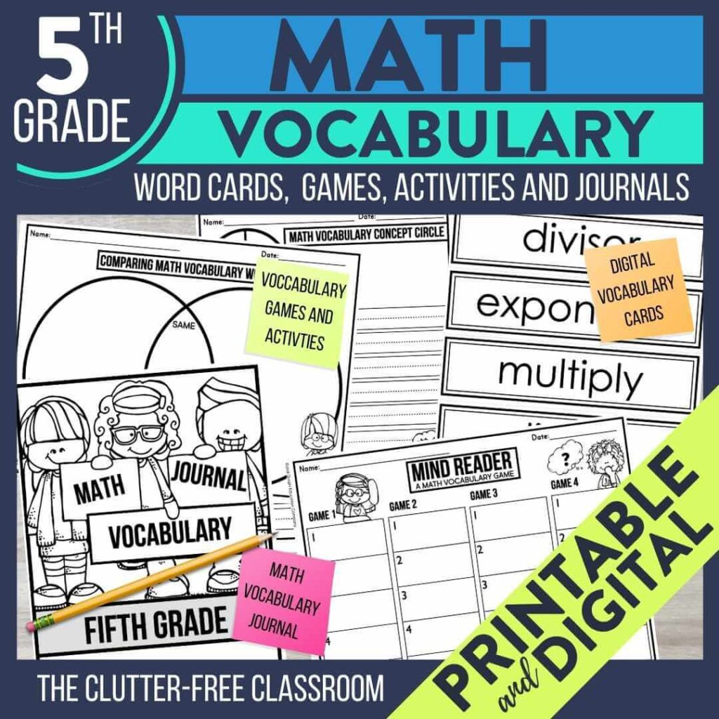 5th grade math vocabulary word wall cards activities and games
