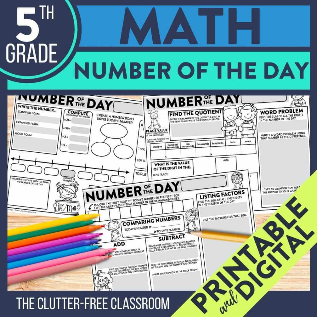 5th grade number of the day worksheets