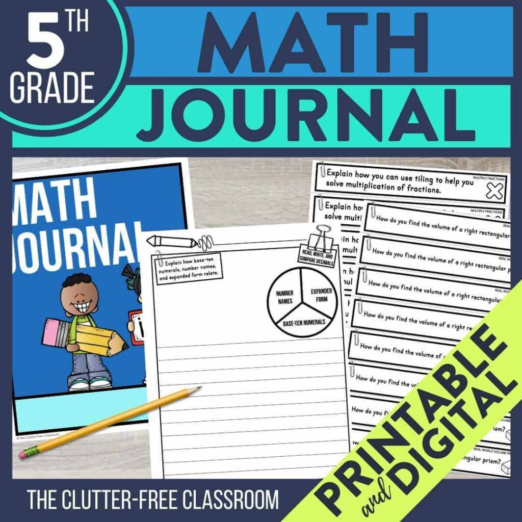 5th grade math notebook journal prompts