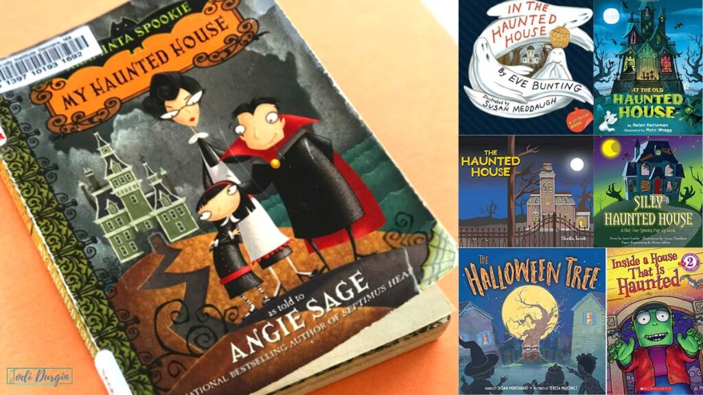 collage of children's books about haunted houses