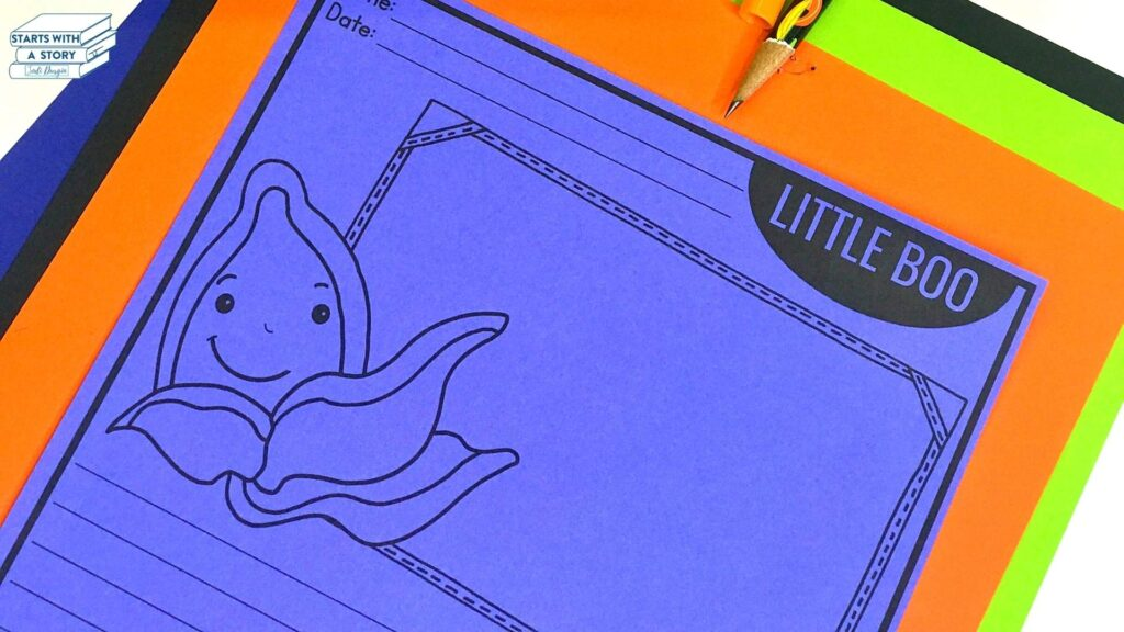pumpkin writing paper worksheet for the book Little Boo