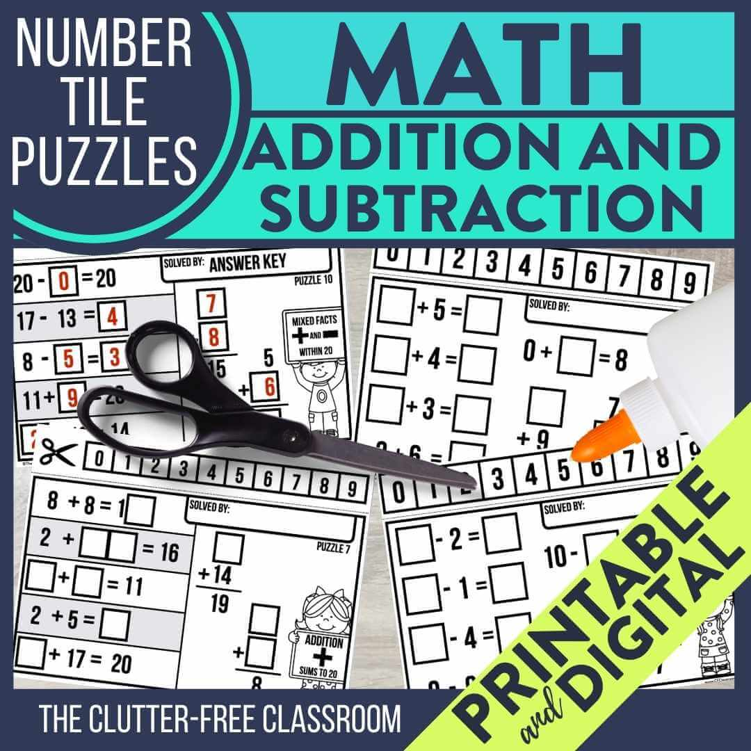 math number tile puzzles for addition and subtraction