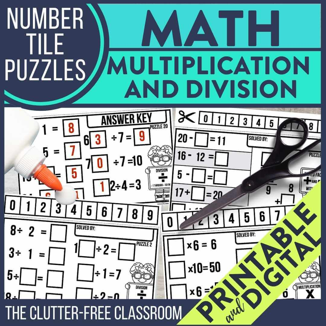 math number tile puzzles for multiplication and division