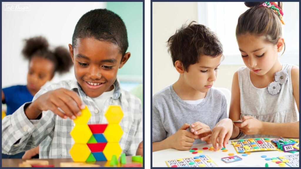 kids using math manipulatives in an elementary classroom
