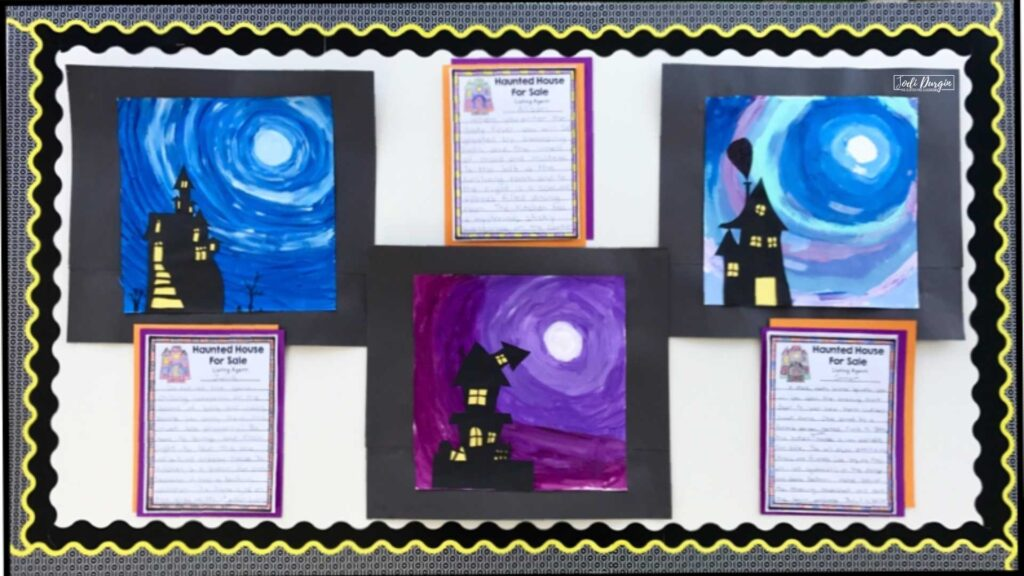 haunted house writing piece and craft wall display