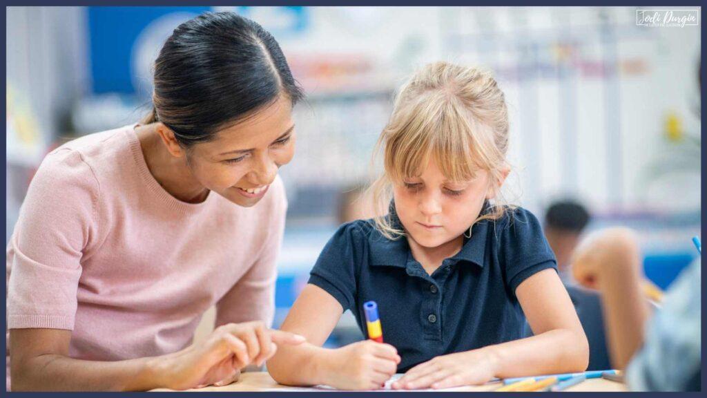 parent volunteer in an elementary math classroom