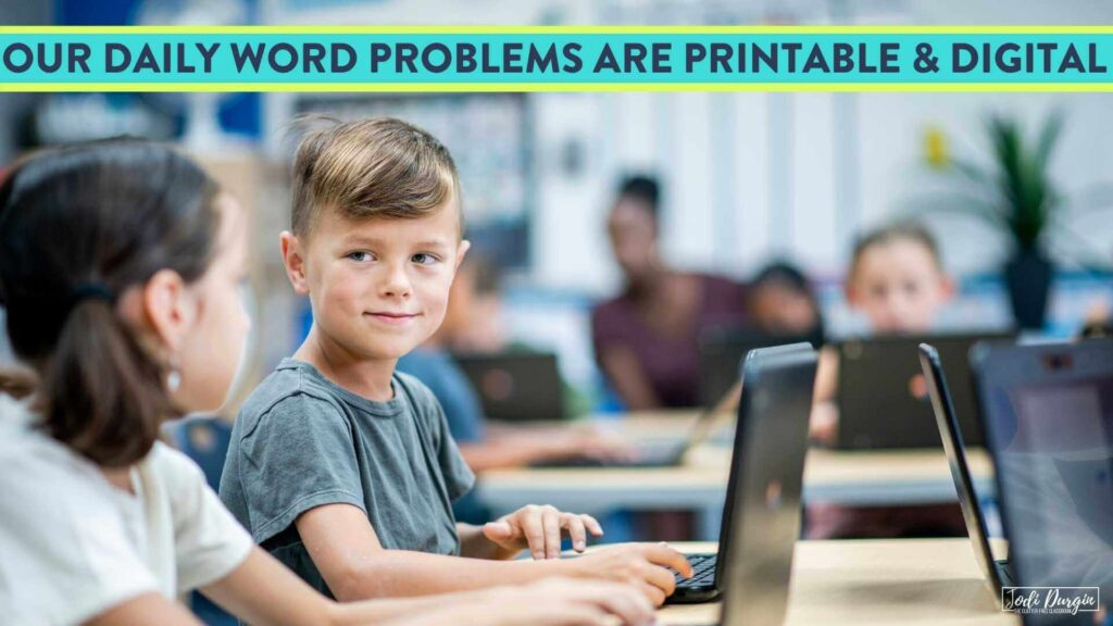 elementary students solving word problems digitally