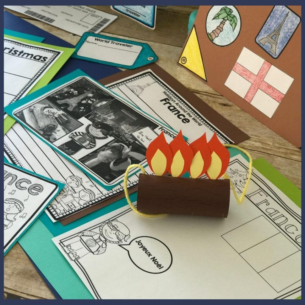 A France Christmas craft that is a Yule log with flames