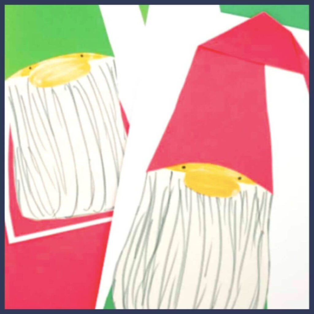 A St. Lucia Day craft that is a paper gnome with a long white beard