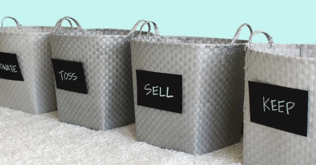 baskets and bins for sorting classroom clutter or teacher organization