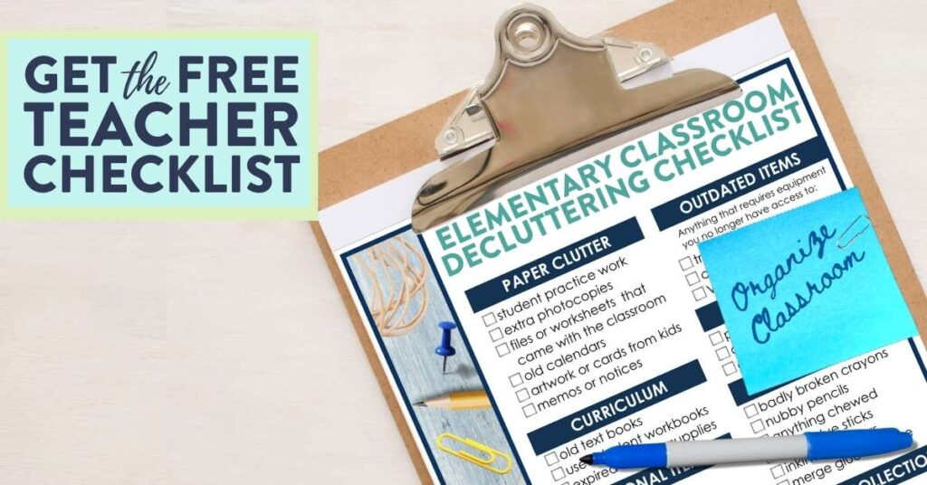 free checklist for elementary teachers about classroom organization