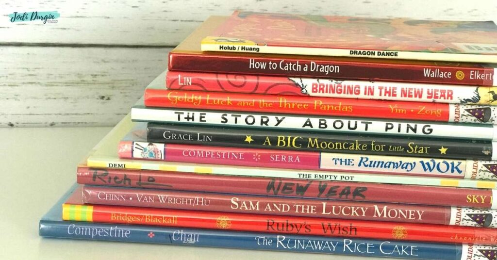 stack of books about Chinese New Year