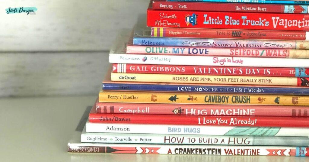 stack of Valentine's Day picture books