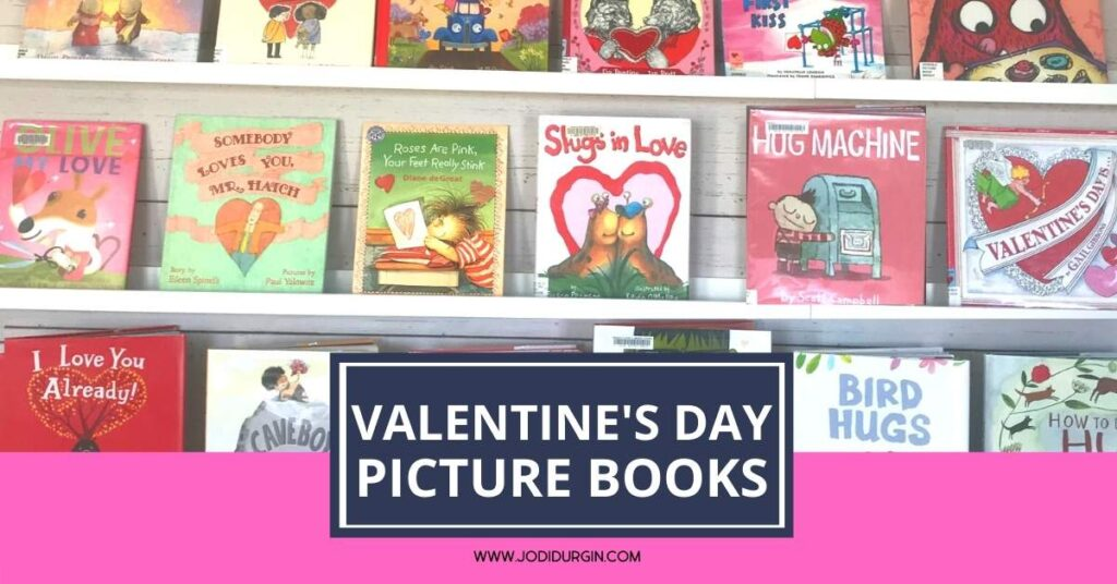 bookshelves with Valentine's Day books
