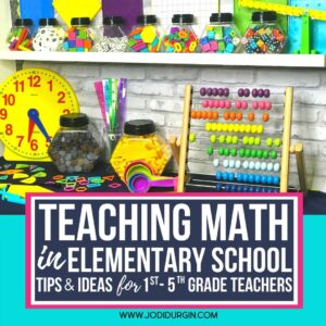 elementary math classroom shelves set up for guided math workshop