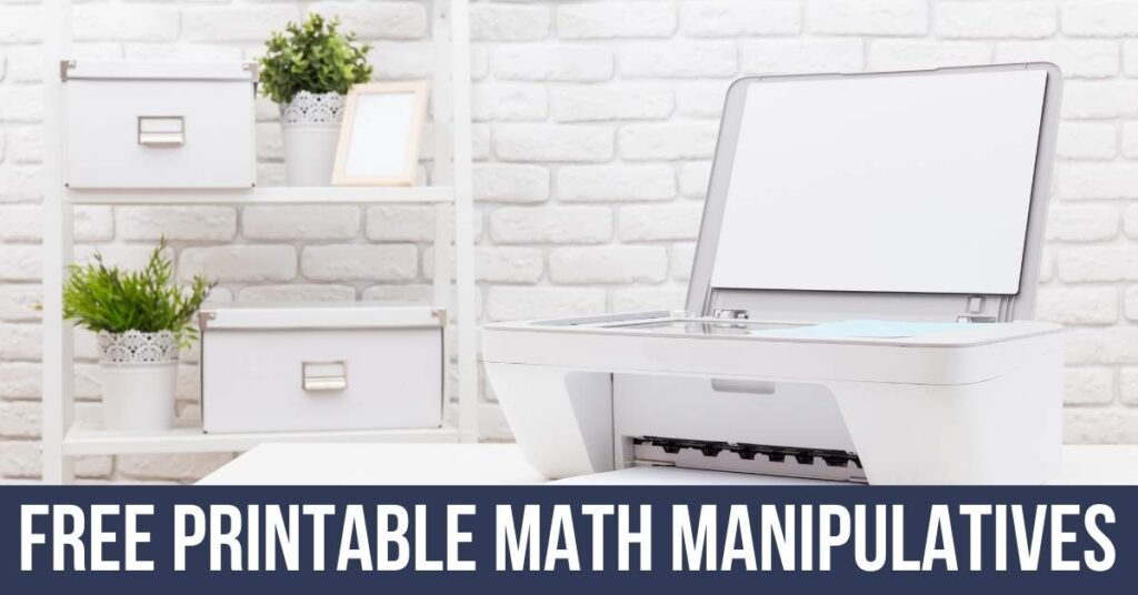 printer on a teacher's desk printing free math manipulatives