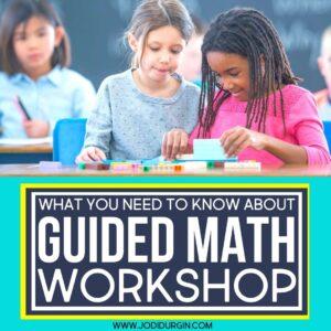 two 3rd grade girls at a math center